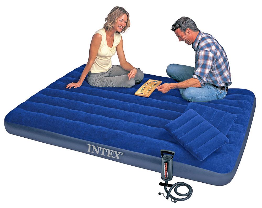 Надувный матрас Intex 68765 насос, подушки (203х152х23 см)